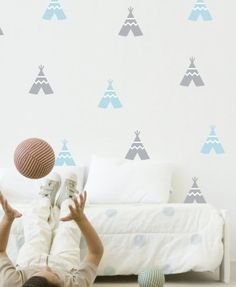 Stylish, unique and retro inspired Tee Pee Wall Decal by Speckled House These high quality removable wall stickers are the perfect way to decorate your child's room, playroom or ANY room of the house - simple, stylish, mess free and super easy to apply! Nursery Design, Baby Design, Nursery Decor, Room Decor, Nursery Wall Stickers, Removable Wall Stickers, Wall Decals, Wall Art, Unisex