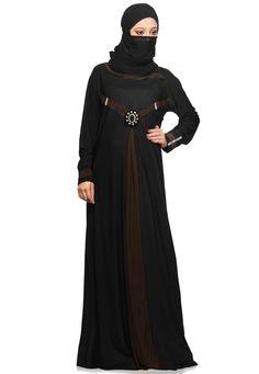 #Black and #DarkMehendi Green Lycra Readymade Burqa  Item Code: QST1  Price: $52.00