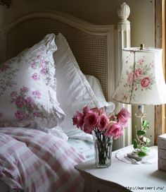 Lovely shabby chic pink bedroom - pretty lamp and cushion