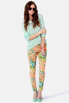 Tripp NYC Orange Paradise Pants - Floral Print Jeans - Skinny Jeans - $82.00