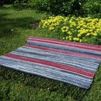 2 Ragrug Denim-red Picnic Blanket, Outdoor Blanket, Beach Mat, Denim, Red, Picnic Quilt, Jeans