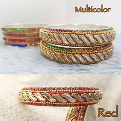 Items similar to Bridesmaids gift for her Golden red boho Bracelets for women Indian Bangles Bridal jewelry Wedding accessories rhinestone Stacking bracelets on Etsy Silk Thread Bangles Design, Silk Bangles, Silk Thread Earrings, Thread Jewellery, Indian Jewelry, Indian Bangles, How To Look Rich, Bangle Bracelets, Jewelry Collection