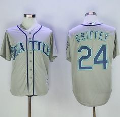 Mariners #24 Ken Griffey Grey New Cool Base 2016 Hall Of Fame Patch Stitched MLB Jersey