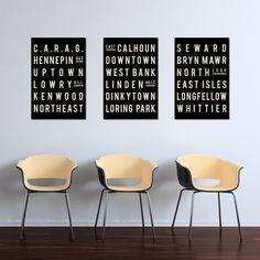 MINNEAPOLIS Art - Typography Sign - Minnesota Poster - City Map Print - Living Room Decor - Gift - Modern - Set of 3 by GoingUnderground on Etsy https://www.etsy.com/listing/128436947/minneapolis-art-typography-sign