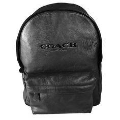 Coach Mens Campus Backpack Black Leather Designer Bookbag Bag F72120-BK