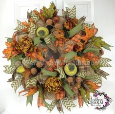 Deco Mesh Fall Apples Acorn Wreath For Door or Wall Moss Green Bronze Brown Orange by www.southerncharmwreaths.com