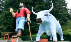 Paul Bunyon and Babe the Blue Ox at the Trees of Mystery in Klamath, California.