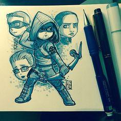 Team Arrow in ink fanart by lordmesa-art