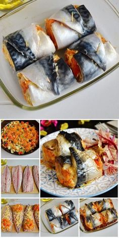 Mackerel rolls with cheese and vegetables are the secret weapon . - Mackerel rolls with cheese and vegetables – the secret weapon of women recipes # book # cookery # recipes Formats: # # Bento Recipes, Fish Recipes, Seafood Recipes, Healthy Recipes, Fun Cooking, Cooking Recipes, Good Food, Yummy Food, Food Hacks