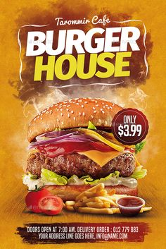 Buy Burger House Flyer by tarommir on GraphicRiver. Burger House Flyer Features Easy editable text Organised layers and grouped Print size: inch Bleed area: inc. Food Graphic Design, Food Menu Design, Food Poster Design, Food Packaging Design, Streetfood Festival, Burger Menu, Food Banner, Cooking Photography, Burger Restaurant