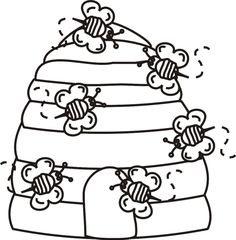 Beehive with Bees Coloring Page | Greatest Coloring Book