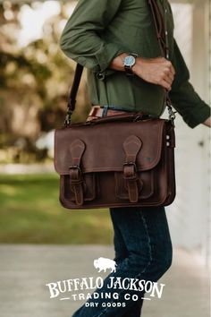 Men's vintage full-grain brown leather pilot briefcase bag. Large size fits up to 18-inch laptops. Handcrafted to handle a lifetime of business, luxury, adventure, and more. Rugged leather products to rival any you'll find from Crazy Horse, Michael Kors, Nordstrom - you name it. Briefcase For Men, Leather Briefcase, Leather Satchel, Leather Men, Leather Bags, Brown Leather, Casual Professional, Waxed Canvas Bag, Rugged Men