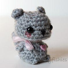 Gray Squirrel  Kawaii Mini Amigurumi Plush by twistyfishies, $18.00