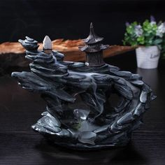 "Ceramic Backflow Incense Holder Burner ""Mountain Temple"""