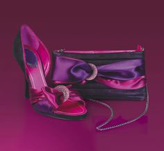 Violets, Pinks, Buckles and Bows - Is there anything not to love! ;) <3 #Bags #Footwear