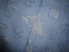 Vintage Pokemon Fabric, Nintendo Characters Print Cotton Fabric 34 x 43  1998…