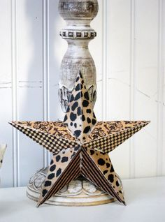 Tin Star in Designer Black & Brown Leopard, Checkerboard, Stripe and Damask Prints... Very Chic... Home Decor, Wall Hanging