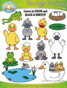 The Ugly Duckling Fairy Tale Clip Art Set  Over 40 Graphics!You will receive 43 clipart graphics that were hand drawn by myself  1 Duckling Crying, 1 Duckling Smiling, 2 Ducks Hatching From Eggs, 1 Duckling Laughing, 1 Angry Duckling, 1 Curious Duckling, 1 Sad Duckling, 2 Ducks Standing, 2 Ducks Waving, 1 Adult Duck Waving, 1 Frog Jumping, 1 Frog Sitting on Lilypad, 1 Lilypad, Mama Duck Swimming with Babies on Back, Mama Duck Waving, 1 Nest with Eggs, 1 Pond with Cattails, 1 Rock, 1 Swan…