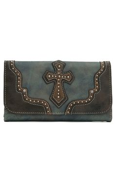 Blazin Roxx Ladies Blue Marble with Brown Layered Western Cross Flap Wallet
