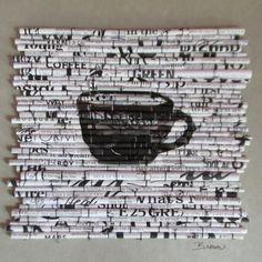 Black Coffee 11 h x b 11 X 1 1/4 t, gerahmt in einem Black-Box-Stil-Rahmen, dies das vierte Bild in ist, einer neuen Serie ich rufeRag Rolls. Vor der Herausforderung, etwas Neues mit vorhandenen Materialien (auch bekannt als recycling) schaffen wandte ich mich in eine neue
