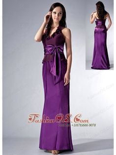 Custom Made Eggplant Purple Cloumn Halter Bridesmaid Dress Bow Brush Train Elastic Woven Satin and Chiffon- $132.89http://www.fashionos.com  http://www.facebook.com/quinceaneradress.fashionos.us  Product Tags: bridesmaid dresses | bridesmaid dresses with zipper up back | ruched bridesmaid dresses | beach wedding bridesmaid dresses | bridesmaid dresses for less