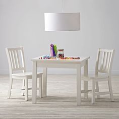 Anywhere Square White Play Table and Chairs Set | The Land of Nod