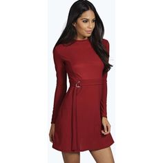Boohoo Lola High Neck Buckle Detail A-Line Dress (€19) ❤ liked on Polyvore featuring dresses, berry, red a line dress, red dress, waist belt, boohoo dresses and high neckline dress
