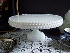 Wonderful Rare L. E. Smith Hobnail White Milk Glass Pedestal Cake Stand - Wedding Table / Wedding Cake Stand by RetropolitanHolmes on Etsy https://www.etsy.com/listing/171933730/wonderful-rare-l-e-smith-hobnail-white