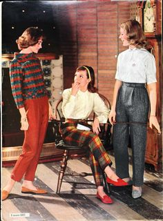 Sears Catalogue. Late 1950's outfits pants blouse top shirt sweater shoes jacket red blue plaid 50s 60s color photo print ad catalogue models