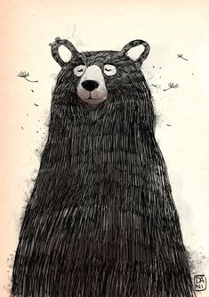 Animal Sketches, Animal Drawings, Art Drawings, Bear Illustration, Animal Illustrations, Urso Bear, Bear Paintings, Bear Drawing, Bear Art