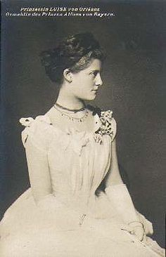 Louise Victoire d'Orleans, Princess of Bavaria. (1869–1952) princess of the House of Orléans, dau. of Prince Ferdinand of Orleans, Duc d'Alencon, and Duchess Sophie in Bavaria, sister of the Austrian empress. Throughout her life Louise remained very close to her first cousin, the Austrian archduchess Marie Valerie of Habsburg-Lorraine. Married cousin Prince Alfons of Bavaria. Granddau. Pcss Victoria of Saxe-Coburg-Gotha.