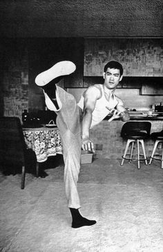 Bruce Lee. at home.