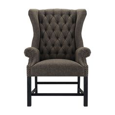 Oliver Tufted Upholstered Dining Arm Chair In Charles Tweed And Black