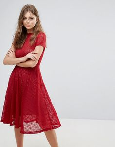 Goldie Lace Flared Midi Dress - Red