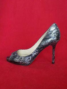 Enzo Angiolini Womens Silver/Black Reptile Metallic Peeptoe Pump Heels  Size 8.5 #EnzoAngiolini #PumpsClassics