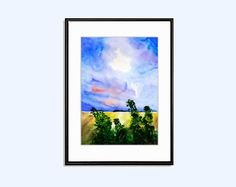 #Landscape #windy #sun #Digital #Download  #Poster #originalWatercolor #Printable #WallDecor #Art #Print INSTANT #Download