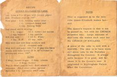 Printed recipe for Queen Elizabeth Cake