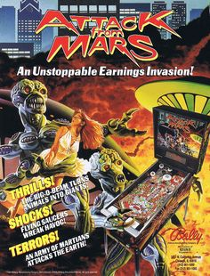 ATTACK FROM MARS by Midway - Moving flying saucer in the middle of playfield, Strobe light (for Strobe Multiball), four dancing Martian figures (for Martian Attack; similar to the ones in Midway's 1989 'Elvira and the Party Monsters').
