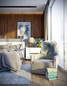 Holzwand und Idee Schlafzimmer Kopfteil