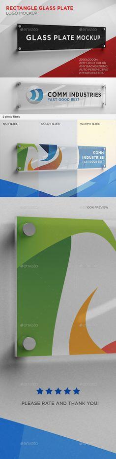 Rectangle Glass Plate Logo Mockup