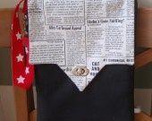 Sac forme sacoche lin imprimé journal de chats rabat fermoir twist : Housses ordinateurs et tablettes par le-chat-bricole