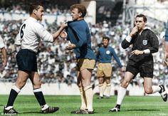 Tottenham 3 Leeds Utd 1 in Aug 1966 at White Hart Lane. Dave Mackay grabs Billy Bremner #Div1