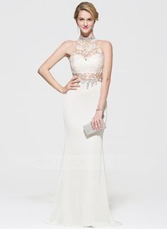 Trumpet/Mermaid Scoop Neck Sweep Train Beading Sequins Zipper Up Regular Straps Sleeveless No 2016 Ivory Spring Summer Fall General Plus Lace Jersey Prom Dress