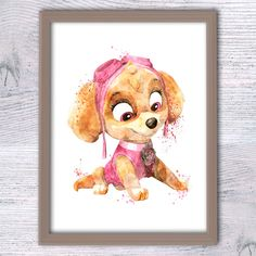 Paw Patrol Skye watercolor poster Paw Patrol character watercolor illustration, paw patrol print, girl room decor, boy gift, Kids decor V269 by ColorfulPoster on Etsy