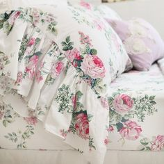Love Story Rose Mermaid Ruffle Sheet Set or Duvet Cover Shabby Chic Cottage, Shabby Chic Style, Shabby Chic Decor, Rose Cottage, Romantic Cottage, Cottage Style, French Cottage, Cute Duvet Covers, Duvet Cover Sets