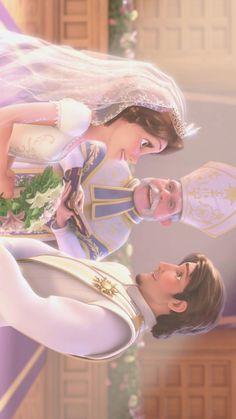 Mom and dad wedding💝 Disney Rapunzel, Tangled Rapunzel, Disney Dream, Disney Love, Wallpaper Animes, Disney Phone Wallpaper, Disney Images, Disney Pictures, Disney Couples