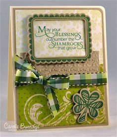 "Mojo232: Shamrocks  Lucky You by Verve  Paper: Happy Day 6""x6"" pad from Simple Stories; Neenah Ivory, Kraft  Ink: A Muse Lichen, Adirondack Meadow  Accessories: Verve A Cut Above dies: Scalloped frame & Shamrocks, ribbon, houndstooth embossing folder (Cuttlebug), corner chomper, foam boosters"