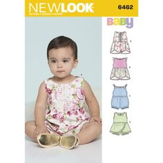 New Look Pattern 6462 Babies' Rompers with Trim Variations