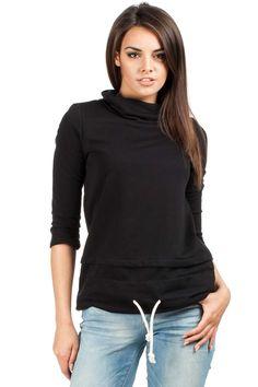 Trapezowa czarna gładka bluzka damska z przeszyciami Turtle Neck, Hoodies, Sweaters, Fashion, Moda, Sweatshirts, Fashion Styles, Parka, Sweater