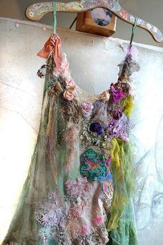 RESERVED For MARGIE Unique Green Silk Dress von Paulina722